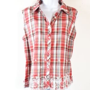 Plaid With Lace Sleeveless Western Top